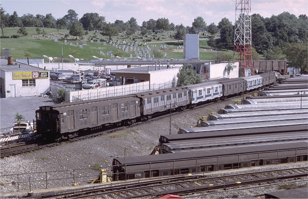 (285k, 1024x664)<br><b>Country:</b> United States<br><b>City:</b> New York<br><b>System:</b> New York City Transit<br><b>Location:</b> East New York Yard/Shops<br><b>Car:</b> R-9 (Pressed Steel, 1940)  1725 <br><b>Photo by:</b> Doug Grotjahn<br><b>Collection of:</b> Joe Testagrose<br><b>Date:</b> 9/25/1971<br><b>Viewed (this week/total):</b> 2 / 5124