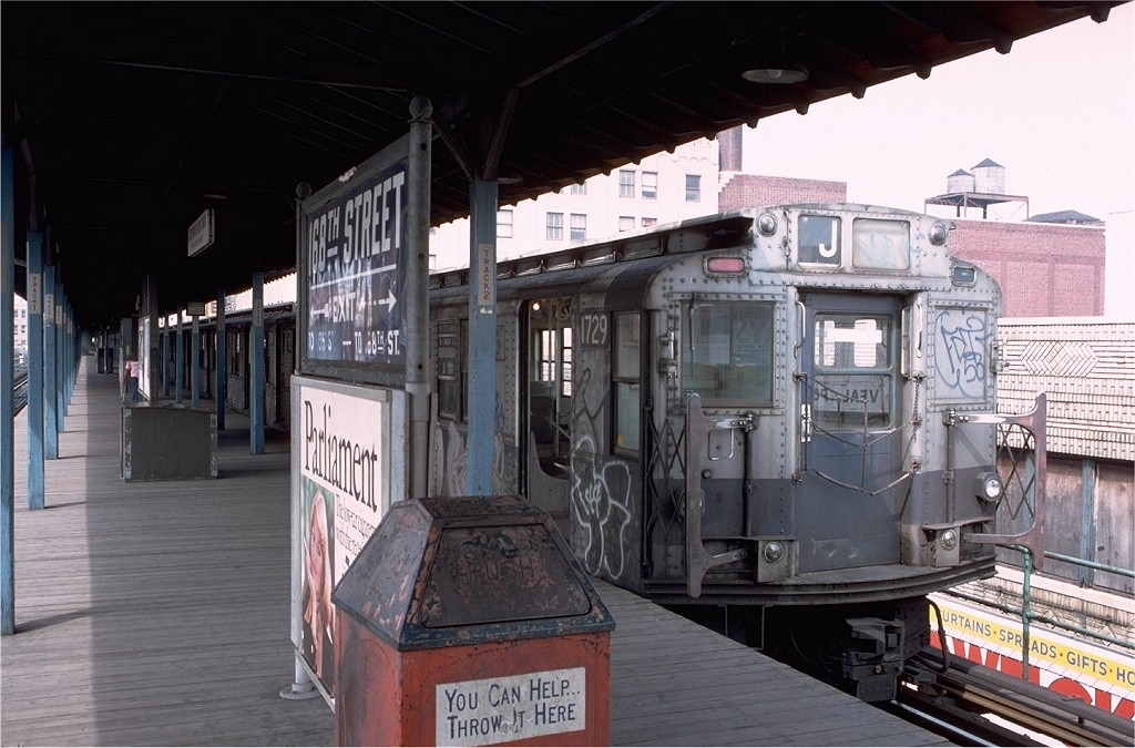 (191k, 1024x675)<br><b>Country:</b> United States<br><b>City:</b> New York<br><b>System:</b> New York City Transit<br><b>Line:</b> BMT Nassau Street/Jamaica Line<br><b>Location:</b> 168th Street (Demolished) <br><b>Route:</b> J<br><b>Car:</b> R-9 (Pressed Steel, 1940)  1729 <br><b>Photo by:</b> Doug Grotjahn<br><b>Collection of:</b> Joe Testagrose<br><b>Date:</b> 5/15/1976<br><b>Viewed (this week/total):</b> 5 / 6264