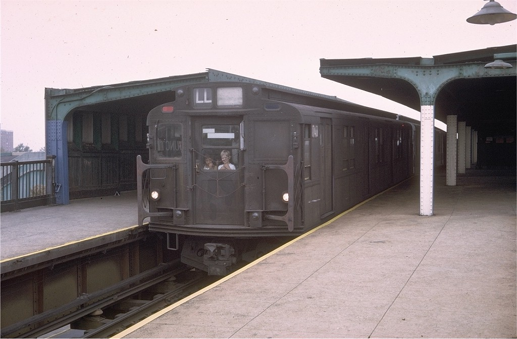 (159k, 1024x671)<br><b>Country:</b> United States<br><b>City:</b> New York<br><b>System:</b> New York City Transit<br><b>Line:</b> BMT Canarsie Line<br><b>Location:</b> Broadway Junction <br><b>Route:</b> LL<br><b>Car:</b> R-9 (Pressed Steel, 1940)  1740 <br><b>Photo by:</b> Doug Grotjahn<br><b>Collection of:</b> Joe Testagrose<br><b>Date:</b> 10/11/1976<br><b>Viewed (this week/total):</b> 0 / 3638