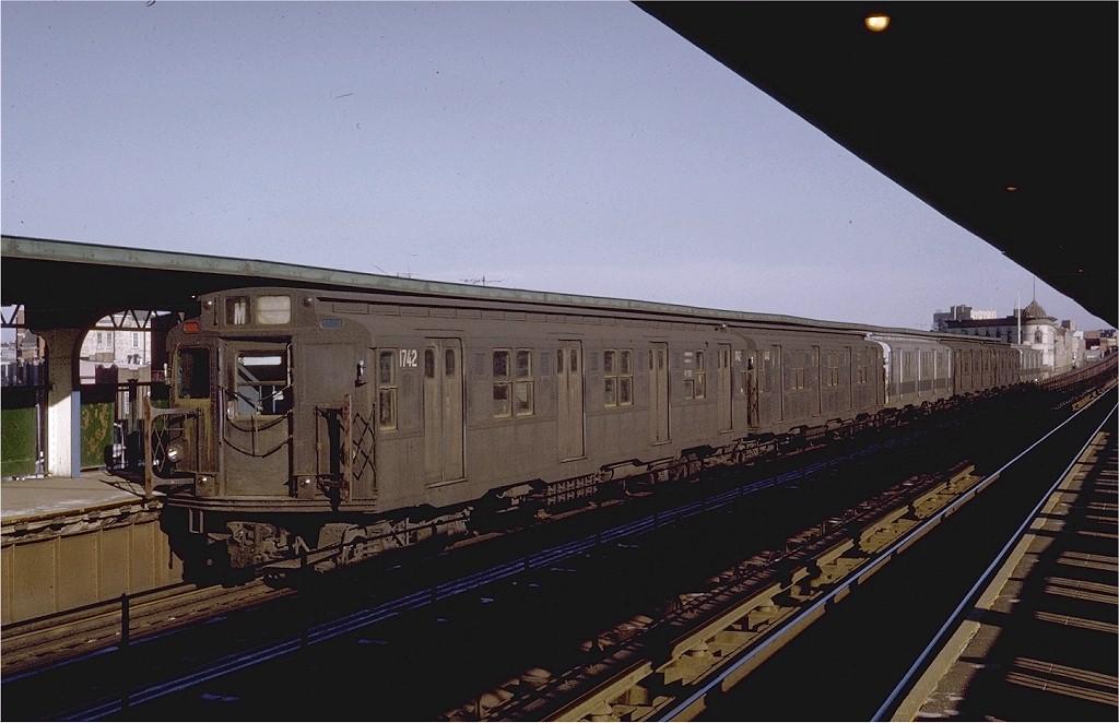 (158k, 1024x662)<br><b>Country:</b> United States<br><b>City:</b> New York<br><b>System:</b> New York City Transit<br><b>Line:</b> BMT Myrtle Avenue Line<br><b>Location:</b> Knickerbocker Avenue <br><b>Route:</b> M<br><b>Car:</b> R-9 (Pressed Steel, 1940)  1742 <br><b>Photo by:</b> Steve Zabel<br><b>Collection of:</b> Joe Testagrose<br><b>Date:</b> 1/16/1971<br><b>Viewed (this week/total):</b> 5 / 4047