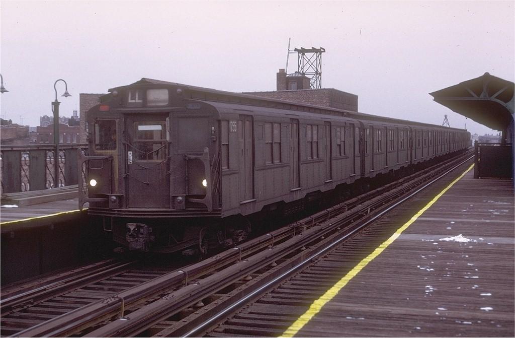 (171k, 1024x671)<br><b>Country:</b> United States<br><b>City:</b> New York<br><b>System:</b> New York City Transit<br><b>Line:</b> BMT Canarsie Line<br><b>Location:</b> Sutter Avenue <br><b>Route:</b> L<br><b>Car:</b> R-9 (Pressed Steel, 1940)  1755 <br><b>Collection of:</b> Joe Testagrose<br><b>Date:</b> 1/31/1971<br><b>Viewed (this week/total):</b> 9 / 3106