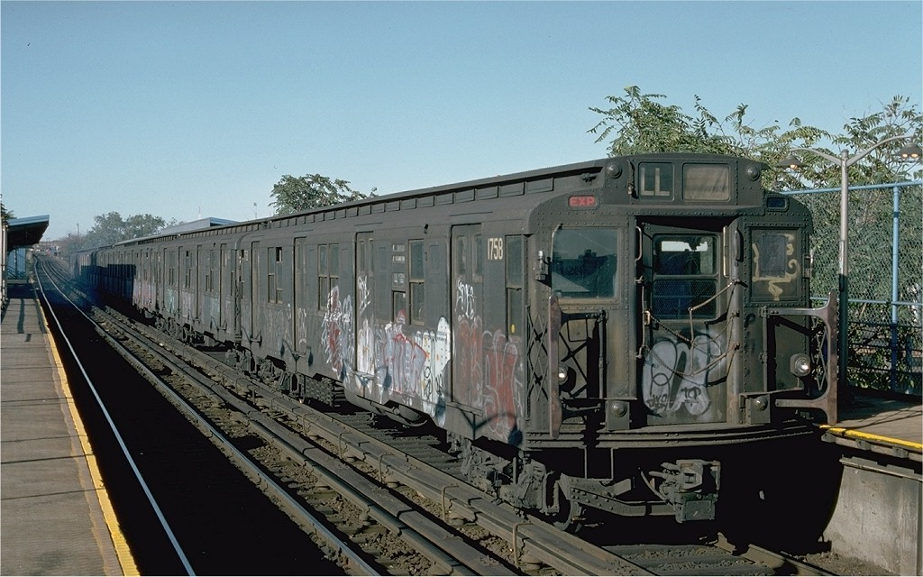 (196k, 1024x640)<br><b>Country:</b> United States<br><b>City:</b> New York<br><b>System:</b> New York City Transit<br><b>Line:</b> BMT Canarsie Line<br><b>Location:</b> New Lots Avenue <br><b>Route:</b> L<br><b>Car:</b> R-9 (Pressed Steel, 1940)  1758 <br><b>Photo by:</b> Ed McKernan<br><b>Collection of:</b> Joe Testagrose<br><b>Date:</b> 10/18/1976<br><b>Viewed (this week/total):</b> 1 / 3680