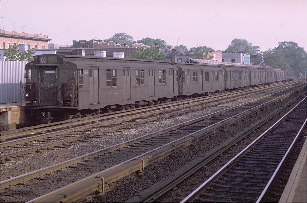(221k, 1024x678)<br><b>Country:</b> United States<br><b>City:</b> New York<br><b>System:</b> New York City Transit<br><b>Line:</b> BMT Brighton Line<br><b>Location:</b> Avenue J <br><b>Route:</b> QJ<br><b>Car:</b> R-9 (Pressed Steel, 1940)  1763 <br><b>Photo by:</b> Doug Grotjahn<br><b>Collection of:</b> Joe Testagrose<br><b>Date:</b> 5/25/1971<br><b>Viewed (this week/total):</b> 2 / 3283