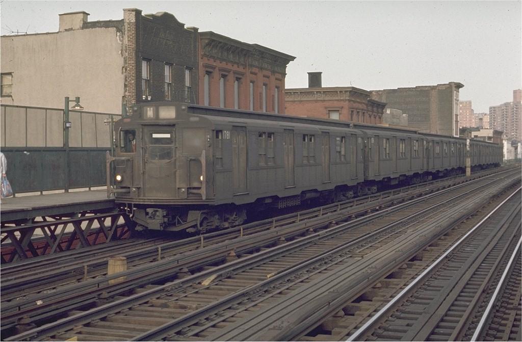 (188k, 1024x671)<br><b>Country:</b> United States<br><b>City:</b> New York<br><b>System:</b> New York City Transit<br><b>Line:</b> BMT Nassau Street/Jamaica Line<br><b>Location:</b> Marcy Avenue <br><b>Route:</b> M<br><b>Car:</b> R-9 (Pressed Steel, 1940)  1781 <br><b>Photo by:</b> Joe Testagrose<br><b>Date:</b> 6/1/1970<br><b>Viewed (this week/total):</b> 3 / 2927