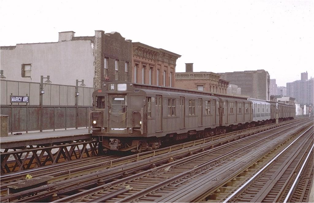 (194k, 1024x661)<br><b>Country:</b> United States<br><b>City:</b> New York<br><b>System:</b> New York City Transit<br><b>Line:</b> BMT Nassau Street/Jamaica Line<br><b>Location:</b> Marcy Avenue <br><b>Route:</b> M<br><b>Car:</b> R-9 (Pressed Steel, 1940)  1789 <br><b>Photo by:</b> Joe Testagrose<br><b>Date:</b> 4/9/1971<br><b>Viewed (this week/total):</b> 0 / 3017