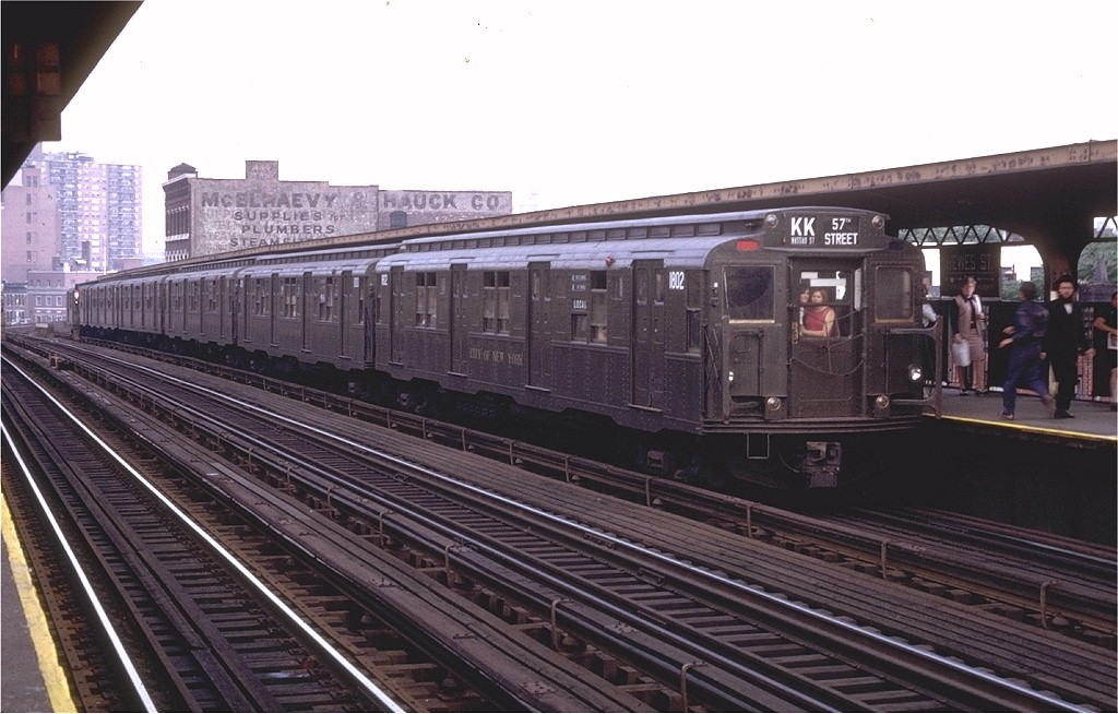 (182k, 1024x654)<br><b>Country:</b> United States<br><b>City:</b> New York<br><b>System:</b> New York City Transit<br><b>Line:</b> BMT Nassau Street/Jamaica Line<br><b>Location:</b> Hewes Street <br><b>Route:</b> KK<br><b>Car:</b> R-9 (Pressed Steel, 1940)  1802 <br><b>Collection of:</b> Joe Testagrose<br><b>Date:</b> 6/27/1972<br><b>Viewed (this week/total):</b> 6 / 3197