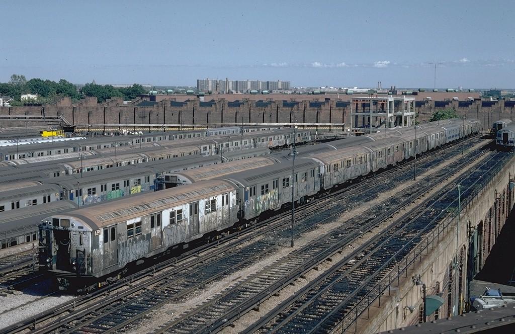 (255k, 1024x664)<br><b>Country:</b> United States<br><b>City:</b> New York<br><b>System:</b> New York City Transit<br><b>Location:</b> East New York Yard/Shops<br><b>Car:</b> R-16 (American Car & Foundry, 1955) 6399 <br><b>Photo by:</b> Steve Zabel<br><b>Collection of:</b> Joe Testagrose<br><b>Date:</b> 8/30/1982<br><b>Viewed (this week/total):</b> 0 / 6251