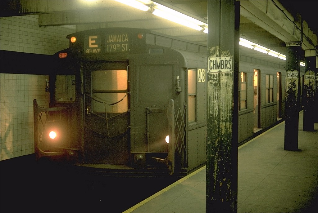 (177k, 1024x687)<br><b>Country:</b> United States<br><b>City:</b> New York<br><b>System:</b> New York City Transit<br><b>Line:</b> IND 8th Avenue Line<br><b>Location:</b> Chambers Street/World Trade Center <br><b>Route:</b> E<br><b>Car:</b> R-9 (American Car & Foundry, 1940)  A08 (ex-1752)<br><b>Photo by:</b> Doug Grotjahn<br><b>Collection of:</b> Joe Testagrose<br><b>Date:</b> 2/14/1969<br><b>Viewed (this week/total):</b> 1 / 5923