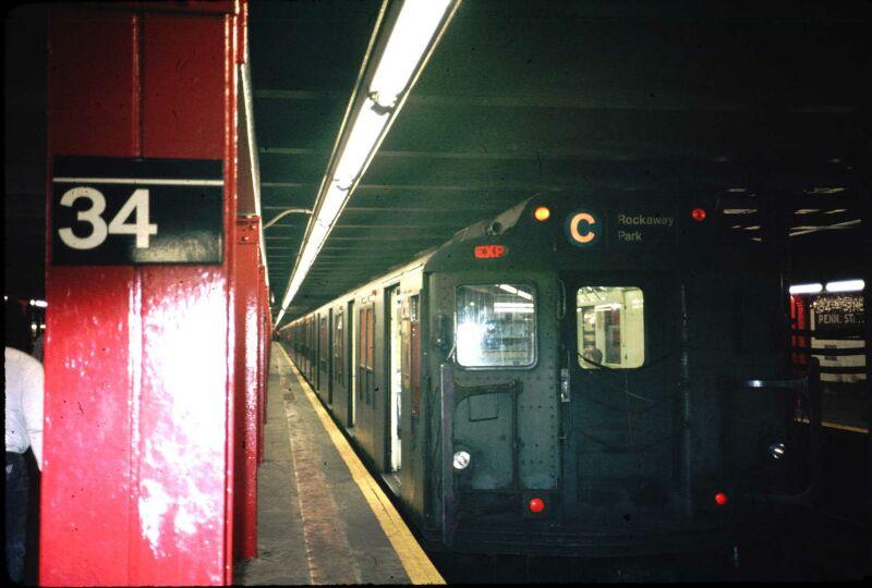 (58k, 800x540)<br><b>Country:</b> United States<br><b>City:</b> New York<br><b>System:</b> New York City Transit<br><b>Line:</b> IND 8th Avenue Line<br><b>Location:</b> 34th Street/Penn Station <br><b>Route:</b> C<br><b>Car:</b> R-10 (American Car & Foundry, 1948) 2967 <br><b>Photo by:</b> Glenn L. Rowe<br><b>Date:</b> 6/1989<br><b>Viewed (this week/total):</b> 3 / 9157