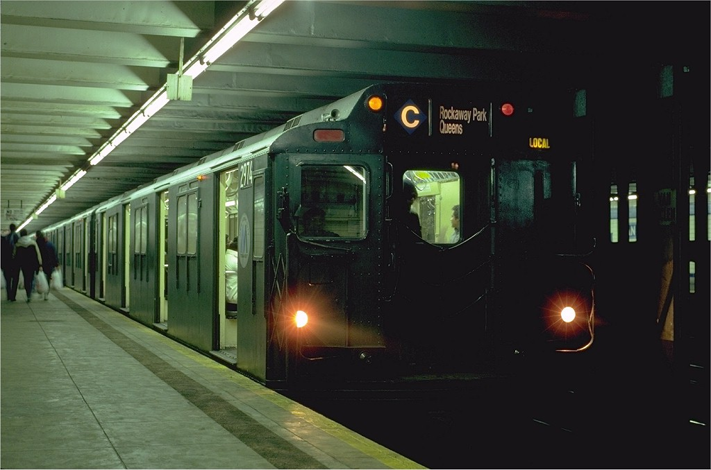 (143k, 1024x678)<br><b>Country:</b> United States<br><b>City:</b> New York<br><b>System:</b> New York City Transit<br><b>Line:</b> IND Fulton Street Line<br><b>Location:</b> Van Siclen Avenue <br><b>Route:</b> C<br><b>Car:</b> R-10 (American Car & Foundry, 1948) 2974 (ex-1827)<br><b>Photo by:</b> Eric Oszustowicz<br><b>Collection of:</b> Joe Testagrose<br><b>Date:</b> 2/5/1986<br><b>Viewed (this week/total):</b> 9 / 10812