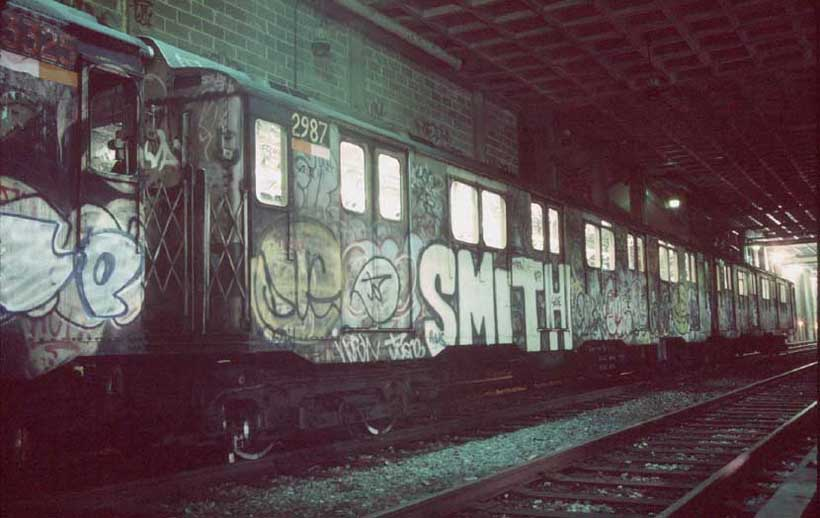 (54k, 820x518)<br><b>Country:</b> United States<br><b>City:</b> New York<br><b>System:</b> New York City Transit<br><b>Location:</b> Pitkin Yard/Shops<br><b>Car:</b> R-10 (American Car & Foundry, 1948) 2987 <br><b>Photo by:</b> Harold<br><b>Date:</b> 1988<br><b>Notes:</b> Awaiting transfer to SBK for scrapping<br><b>Viewed (this week/total):</b> 1 / 8481
