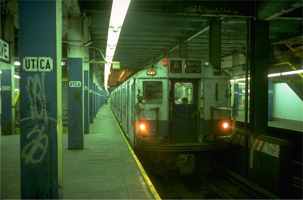 (159k, 1024x677)<br><b>Country:</b> United States<br><b>City:</b> New York<br><b>System:</b> New York City Transit<br><b>Line:</b> IND Fulton Street Line<br><b>Location:</b> Utica Avenue <br><b>Route:</b> A<br><b>Car:</b> R-10 (American Car & Foundry, 1948) 2990 (ex-1843)<br><b>Collection of:</b> Joe Testagrose<br><b>Date:</b> 6/30/1977<br><b>Viewed (this week/total):</b> 9 / 6695