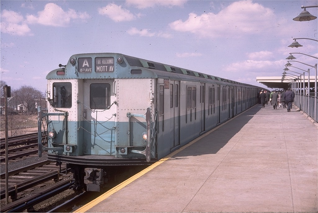 (211k, 1024x686)<br><b>Country:</b> United States<br><b>City:</b> New York<br><b>System:</b> New York City Transit<br><b>Line:</b> IND Rockaway<br><b>Location:</b> Aqueduct Racetrack <br><b>Route:</b> A<br><b>Car:</b> R-10 (American Car & Foundry, 1948) 3015 <br><b>Photo by:</b> Doug Grotjahn<br><b>Collection of:</b> Joe Testagrose<br><b>Date:</b> 3/31/1969<br><b>Viewed (this week/total):</b> 4 / 7102