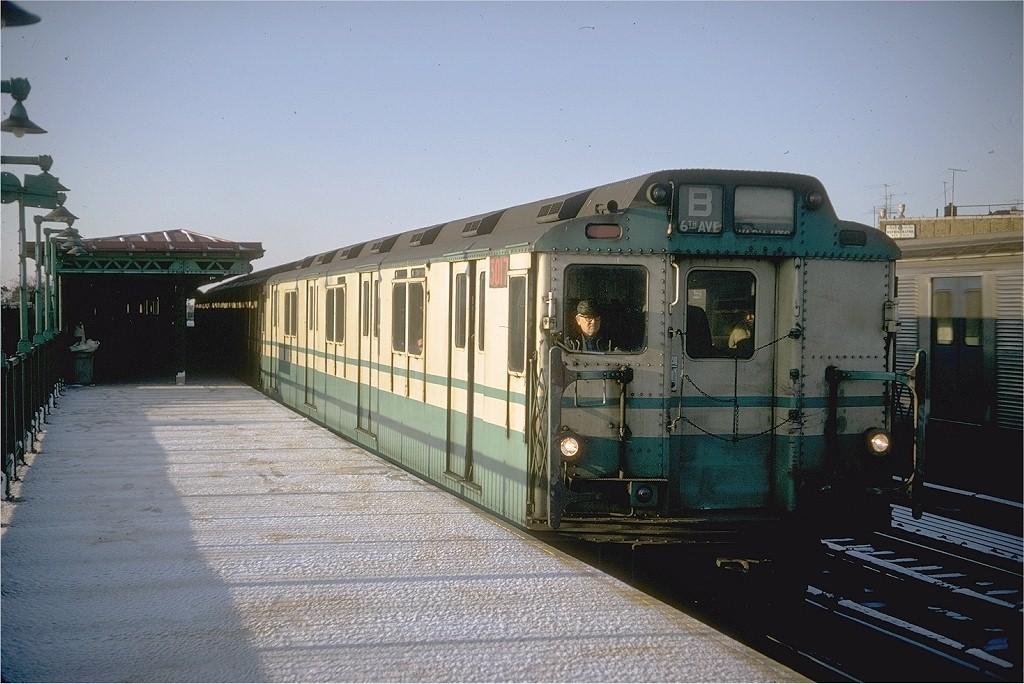(193k, 1024x684)<br><b>Country:</b> United States<br><b>City:</b> New York<br><b>System:</b> New York City Transit<br><b>Line:</b> BMT West End Line<br><b>Location:</b> 55th Street <br><b>Route:</b> B<br><b>Car:</b> R-10 (American Car & Foundry, 1948) 3017 <br><b>Photo by:</b> Doug Grotjahn<br><b>Collection of:</b> Joe Testagrose<br><b>Date:</b> 3/14/1968<br><b>Viewed (this week/total):</b> 2 / 3684