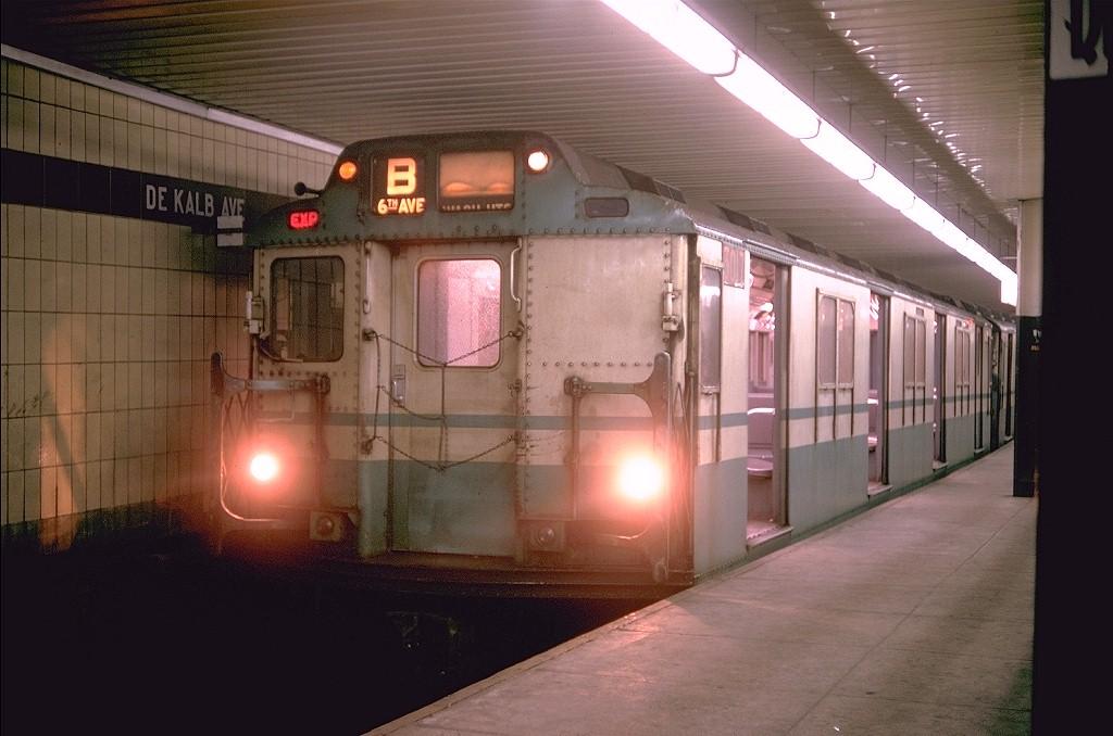 (167k, 1024x678)<br><b>Country:</b> United States<br><b>City:</b> New York<br><b>System:</b> New York City Transit<br><b>Line:</b> BMT 4th Avenue Line<br><b>Location:</b> DeKalb Avenue<br><b>Route:</b> B<br><b>Car:</b> R-10 (American Car & Foundry, 1948) 3017 <br><b>Photo by:</b> Doug Grotjahn<br><b>Collection of:</b> Joe Testagrose<br><b>Date:</b> 3/12/1968<br><b>Viewed (this week/total):</b> 1 / 6202