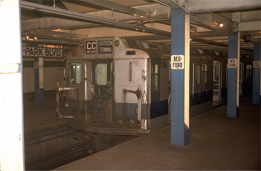 (187k, 1024x671)<br><b>Country:</b> United States<br><b>City:</b> New York<br><b>System:</b> New York City Transit<br><b>Line:</b> IND Concourse Line<br><b>Location:</b> Bedford Park Boulevard <br><b>Route:</b> CC<br><b>Car:</b> R-10 (American Car & Foundry, 1948) 3019 <br><b>Collection of:</b> Joe Testagrose<br><b>Date:</b> 8/23/1974<br><b>Viewed (this week/total):</b> 2 / 4656