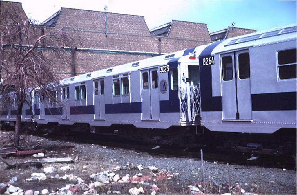 (185k, 1024x674)<br><b>Country:</b> United States<br><b>City:</b> New York<br><b>System:</b> New York City Transit<br><b>Location:</b> Coney Island Yard<br><b>Car:</b> R-10 (American Car & Foundry, 1948) 3023 <br><b>Photo by:</b> Steve Zabel<br><b>Collection of:</b> Joe Testagrose<br><b>Date:</b> 3/11/1972<br><b>Viewed (this week/total):</b> 0 / 3062