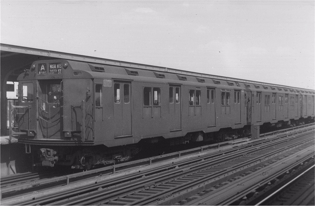(149k, 1024x671)<br><b>Country:</b> United States<br><b>City:</b> New York<br><b>System:</b> New York City Transit<br><b>Line:</b> IND Fulton Street Line<br><b>Location:</b> 88th Street/Boyd Avenue <br><b>Route:</b> A<br><b>Car:</b> R-10 (American Car & Foundry, 1948) 3025 <br><b>Photo by:</b> Harry Pinsker<br><b>Date:</b> 4/10/1960<br><b>Viewed (this week/total):</b> 1 / 4435