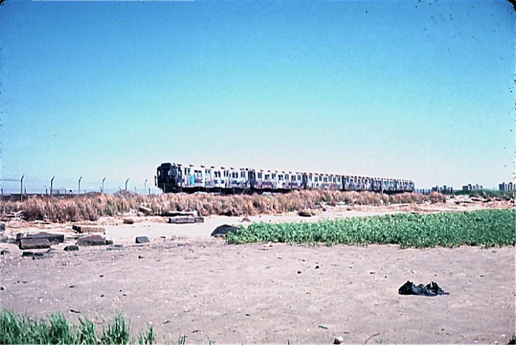 (160k, 1024x686)<br><b>Country:</b> United States<br><b>City:</b> New York<br><b>System:</b> New York City Transit<br><b>Line:</b> IND Rockaway<br><b>Location:</b> Jamaica Bay Crossing<br><b>Route:</b> A<br><b>Car:</b> R-10 (American Car & Foundry, 1948) 3030 <br><b>Photo by:</b> Steve Zabel<br><b>Collection of:</b> Joe Testagrose<br><b>Date:</b> 6/4/1977<br><b>Viewed (this week/total):</b> 2 / 4191