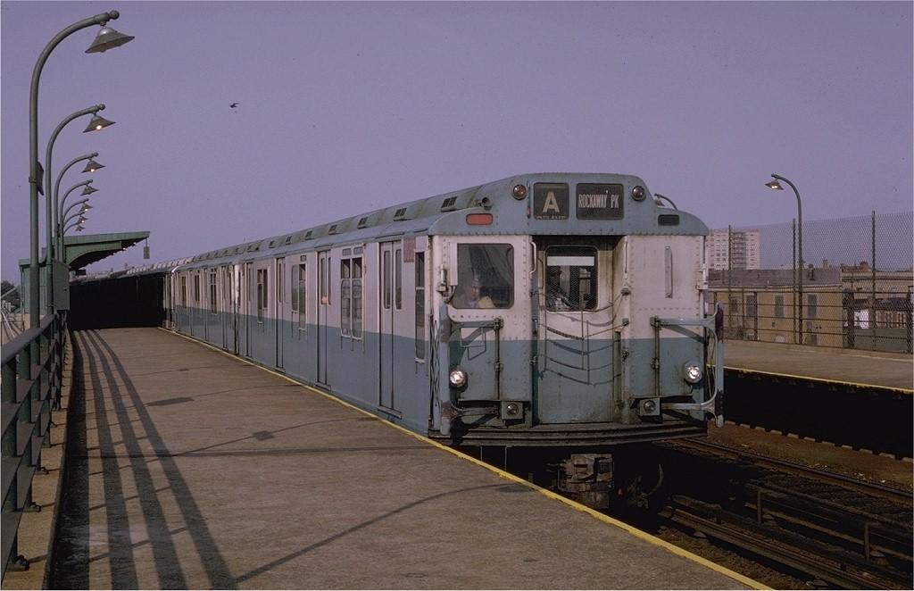 (167k, 1024x662)<br><b>Country:</b> United States<br><b>City:</b> New York<br><b>System:</b> New York City Transit<br><b>Line:</b> IND Rockaway<br><b>Location:</b> Beach 98th Street/Playland <br><b>Route:</b> A<br><b>Car:</b> R-10 (American Car & Foundry, 1948) 3038 <br><b>Photo by:</b> Joe Testagrose<br><b>Date:</b> 6/29/1970<br><b>Viewed (this week/total):</b> 4 / 4368