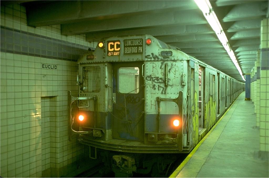 (192k, 1024x676)<br><b>Country:</b> United States<br><b>City:</b> New York<br><b>System:</b> New York City Transit<br><b>Line:</b> IND Fulton Street Line<br><b>Location:</b> Euclid Avenue <br><b>Route:</b> CC<br><b>Car:</b> R-10 (American Car & Foundry, 1948) 3043 <br><b>Photo by:</b> Doug Grotjahn<br><b>Collection of:</b> Joe Testagrose<br><b>Date:</b> 6/30/1977<br><b>Viewed (this week/total):</b> 2 / 6856