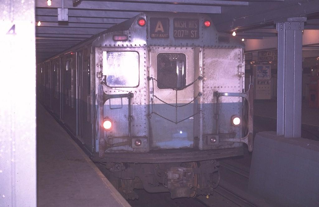(141k, 1024x665)<br><b>Country:</b> United States<br><b>City:</b> New York<br><b>System:</b> New York City Transit<br><b>Line:</b> IND 8th Avenue Line<br><b>Location:</b> West 4th Street/Washington Square <br><b>Route:</b> A<br><b>Car:</b> R-10 (American Car & Foundry, 1948) 3043 <br><b>Photo by:</b> Joe Testagrose<br><b>Date:</b> 4/24/1970<br><b>Viewed (this week/total):</b> 0 / 3762