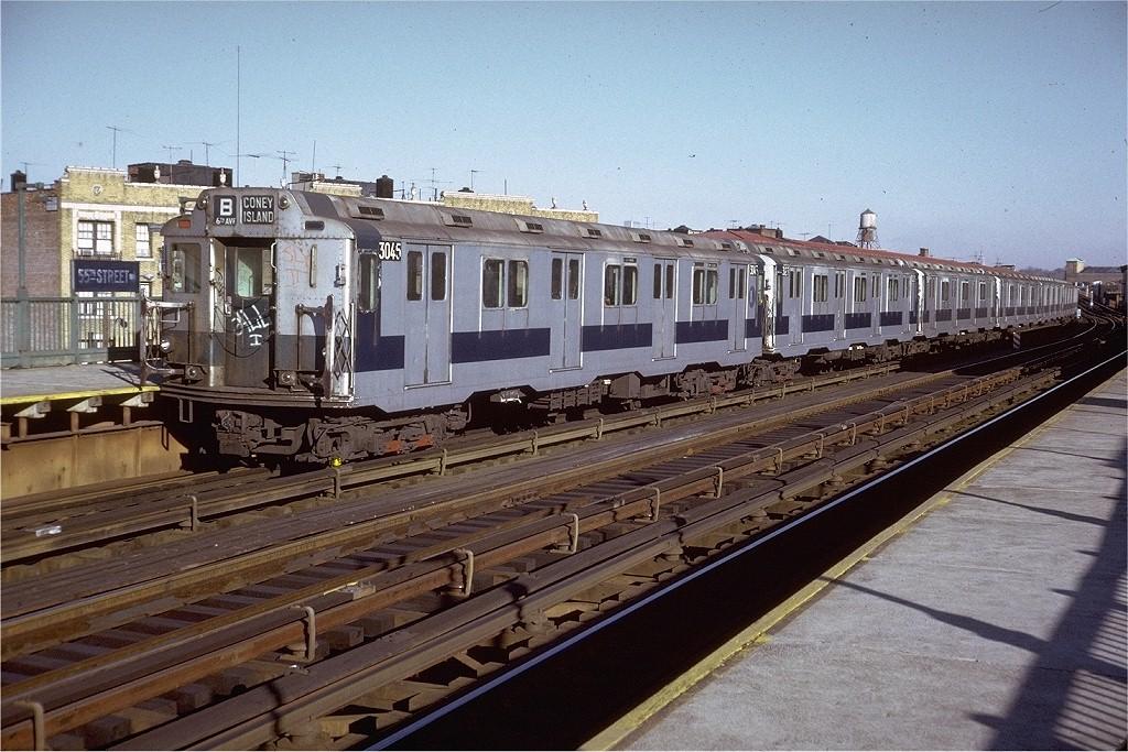 (241k, 1024x683)<br><b>Country:</b> United States<br><b>City:</b> New York<br><b>System:</b> New York City Transit<br><b>Line:</b> BMT West End Line<br><b>Location:</b> 55th Street <br><b>Route:</b> B<br><b>Car:</b> R-10 (American Car & Foundry, 1948) 3045 <br><b>Photo by:</b> Doug Grotjahn<br><b>Collection of:</b> Joe Testagrose<br><b>Date:</b> 11/29/1974<br><b>Viewed (this week/total):</b> 1 / 3540