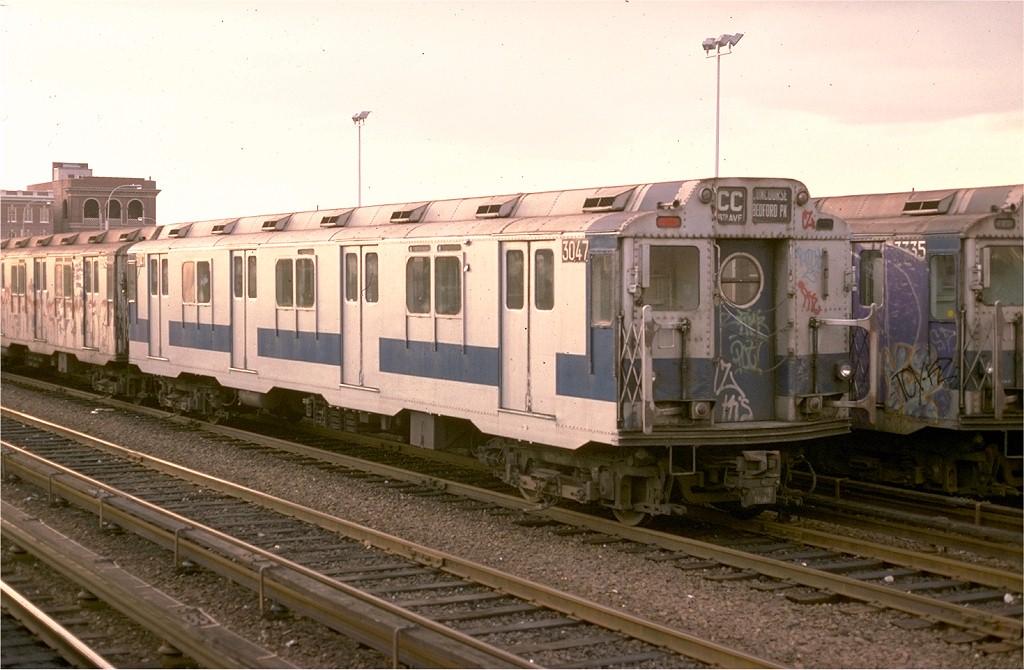 (177k, 1024x670)<br><b>Country:</b> United States<br><b>City:</b> New York<br><b>System:</b> New York City Transit<br><b>Location:</b> Rockaway Park Yard<br><b>Car:</b> R-10 (American Car & Foundry, 1948) 3047 <br><b>Collection of:</b> Joe Testagrose<br><b>Date:</b> 11/12/1977<br><b>Viewed (this week/total):</b> 7 / 5255