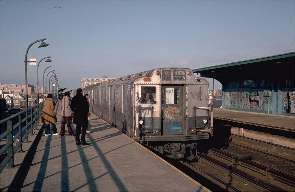 (177k, 1024x666)<br><b>Country:</b> United States<br><b>City:</b> New York<br><b>System:</b> New York City Transit<br><b>Line:</b> IND Rockaway<br><b>Location:</b> Beach 90th Street/Holland <br><b>Route:</b> A<br><b>Car:</b> R-10 (American Car & Foundry, 1948) 3056 <br><b>Photo by:</b> Steve Zabel<br><b>Collection of:</b> Joe Testagrose<br><b>Date:</b> 4/9/1976<br><b>Viewed (this week/total):</b> 1 / 6336