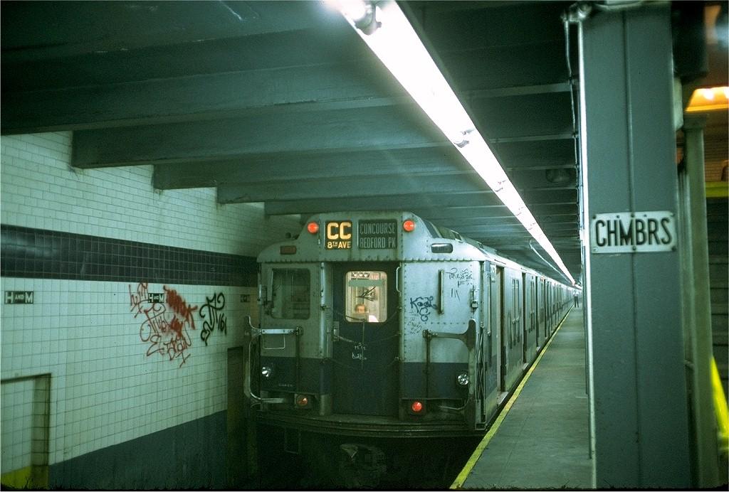 (216k, 1024x692)<br><b>Country:</b> United States<br><b>City:</b> New York<br><b>System:</b> New York City Transit<br><b>Line:</b> IND 8th Avenue Line<br><b>Location:</b> Chambers Street/World Trade Center <br><b>Route:</b> CC<br><b>Car:</b> R-10 (American Car & Foundry, 1948) 3057 <br><b>Photo by:</b> Doug Grotjahn<br><b>Collection of:</b> Joe Testagrose<br><b>Date:</b> 6/25/1973<br><b>Viewed (this week/total):</b> 0 / 4730