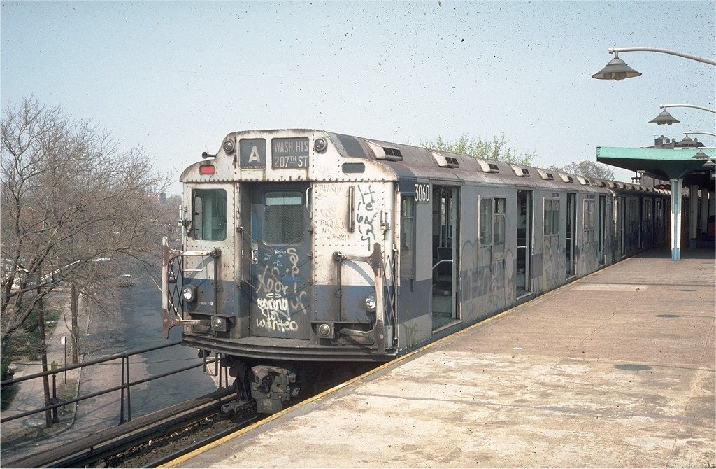 (225k, 1024x670)<br><b>Country:</b> United States<br><b>City:</b> New York<br><b>System:</b> New York City Transit<br><b>Line:</b> IND Rockaway<br><b>Location:</b> Mott Avenue/Far Rockaway <br><b>Route:</b> A<br><b>Car:</b> R-10 (American Car & Foundry, 1948) 3060 <br><b>Photo by:</b> Steve Zabel<br><b>Collection of:</b> Joe Testagrose<br><b>Date:</b> 4/18/1976<br><b>Viewed (this week/total):</b> 6 / 4997