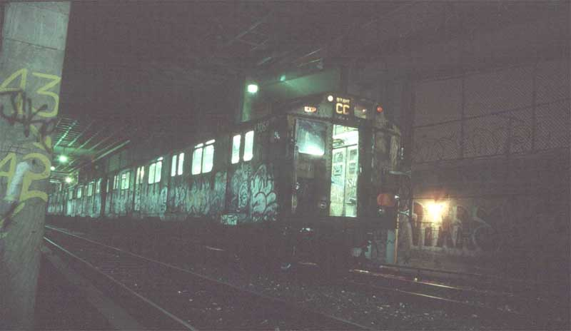 (30k, 800x464)<br><b>Country:</b> United States<br><b>City:</b> New York<br><b>System:</b> New York City Transit<br><b>Location:</b> Pitkin Yard/Shops<br><b>Car:</b> R-10 (American Car & Foundry, 1948) 3068 <br><b>Photo by:</b> Harold<br><b>Date:</b> 1988<br><b>Notes:</b> Awaiting transfer to SBK for scrapping<br><b>Viewed (this week/total):</b> 4 / 7191