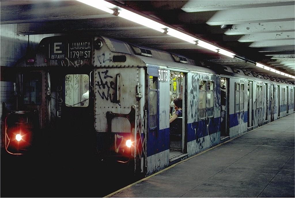 (234k, 1024x687)<br><b>Country:</b> United States<br><b>City:</b> New York<br><b>System:</b> New York City Transit<br><b>Line:</b> IND 8th Avenue Line<br><b>Location:</b> 14th Street <br><b>Route:</b> E<br><b>Car:</b> R-10 (American Car & Foundry, 1948) 3073 <br><b>Photo by:</b> Steve Zabel<br><b>Collection of:</b> Joe Testagrose<br><b>Date:</b> 8/21/1980<br><b>Viewed (this week/total):</b> 3 / 5889