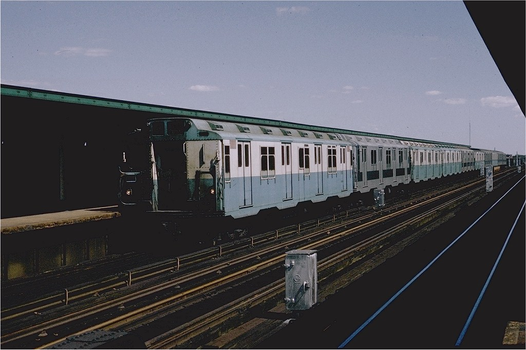 (168k, 1024x681)<br><b>Country:</b> United States<br><b>City:</b> New York<br><b>System:</b> New York City Transit<br><b>Line:</b> IND Fulton Street Line<br><b>Location:</b> 88th Street/Boyd Avenue <br><b>Route:</b> A<br><b>Car:</b> R-10 (American Car & Foundry, 1948) 3099 <br><b>Photo by:</b> Doug Grotjahn<br><b>Collection of:</b> Joe Testagrose<br><b>Date:</b> 8/16/1969<br><b>Viewed (this week/total):</b> 3 / 3091