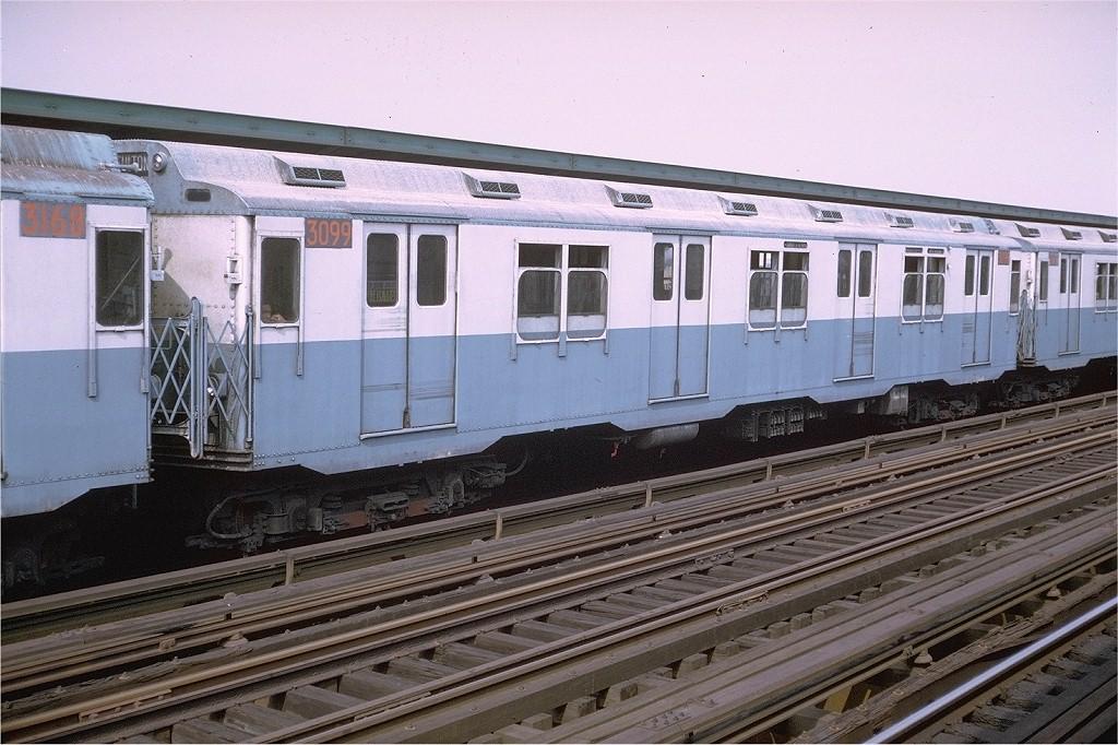 (217k, 1024x682)<br><b>Country:</b> United States<br><b>City:</b> New York<br><b>System:</b> New York City Transit<br><b>Line:</b> IND Fulton Street Line<br><b>Location:</b> 88th Street/Boyd Avenue <br><b>Route:</b> A<br><b>Car:</b> R-10 (American Car & Foundry, 1948) 3099 <br><b>Photo by:</b> Joe Testagrose<br><b>Date:</b> 9/12/1970<br><b>Viewed (this week/total):</b> 0 / 3995