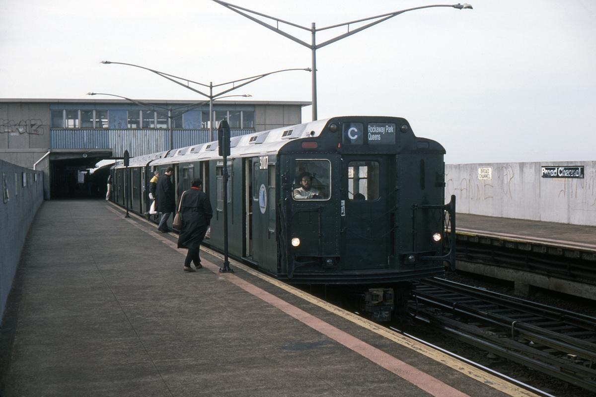 (458k, 1024x683)<br><b>Country:</b> United States<br><b>City:</b> New York<br><b>System:</b> New York City Transit<br><b>Line:</b> IND Rockaway<br><b>Location:</b> Broad Channel <br><b>Route:</b> A<br><b>Car:</b> R-10 (American Car & Foundry, 1948) 3107 <br><b>Collection of:</b> David Pirmann<br><b>Date:</b> 5/1/1985<br><b>Viewed (this week/total):</b> 4 / 7305