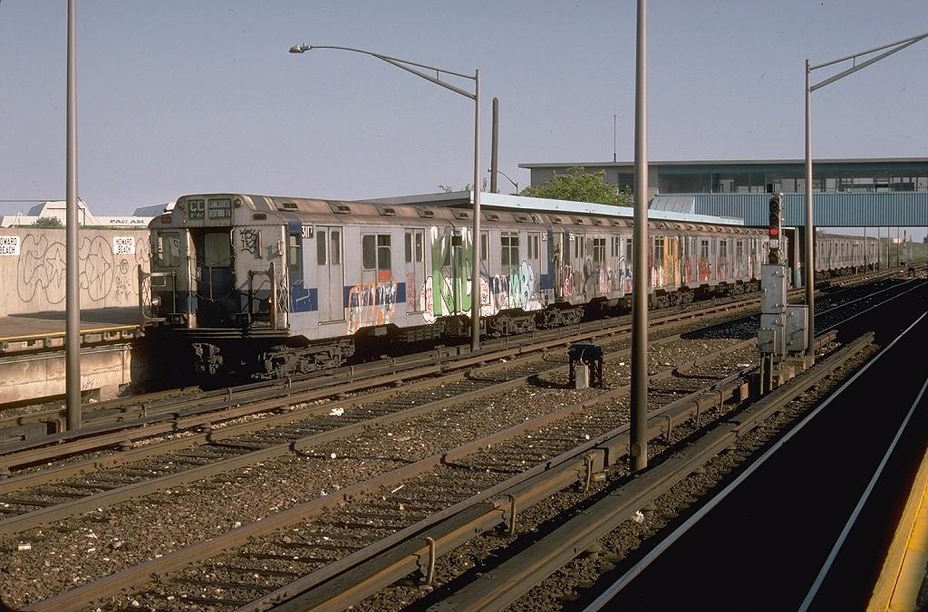 (241k, 1024x676)<br><b>Country:</b> United States<br><b>City:</b> New York<br><b>System:</b> New York City Transit<br><b>Line:</b> IND Rockaway Line<br><b>Location:</b> Howard Beach/JFK Airport<br><b>Route:</b> CC<br><b>Car:</b> R-10 (American Car & Foundry, 1948) 3117 <br><b>Photo by:</b> Doug Grotjahn<br><b>Collection of:</b> Joe Testagrose<br><b>Date:</b> 8/23/1978<br><b>Viewed (this week/total):</b> 0 / 5393