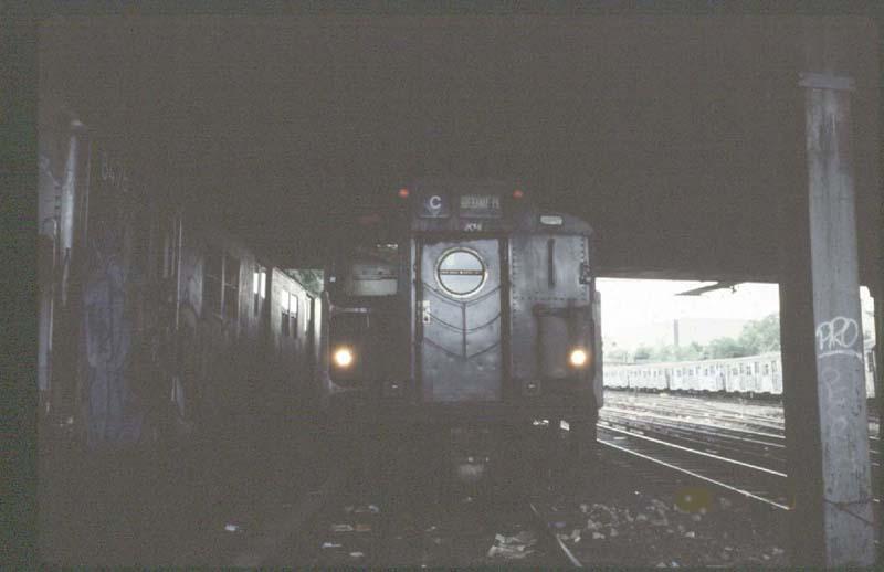 (39k, 800x518)<br><b>Country:</b> United States<br><b>City:</b> New York<br><b>System:</b> New York City Transit<br><b>Location:</b> Concourse Yard<br><b>Car:</b> R-10 (American Car & Foundry, 1948) 3141 <br><b>Photo by:</b> Harold<br><b>Date:</b> 8/23/1988<br><b>Notes:</b> R16 replacement storm door<br><b>Viewed (this week/total):</b> 0 / 5456