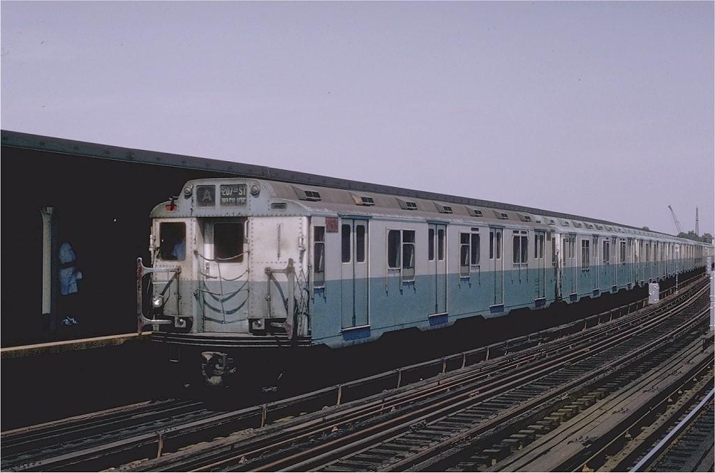 (169k, 1024x678)<br><b>Country:</b> United States<br><b>City:</b> New York<br><b>System:</b> New York City Transit<br><b>Line:</b> IND Fulton Street Line<br><b>Location:</b> Rockaway Boulevard <br><b>Route:</b> A<br><b>Car:</b> R-10 (American Car & Foundry, 1948) 3153 <br><b>Collection of:</b> Joe Testagrose<br><b>Date:</b> 6/29/1970<br><b>Viewed (this week/total):</b> 1 / 3039