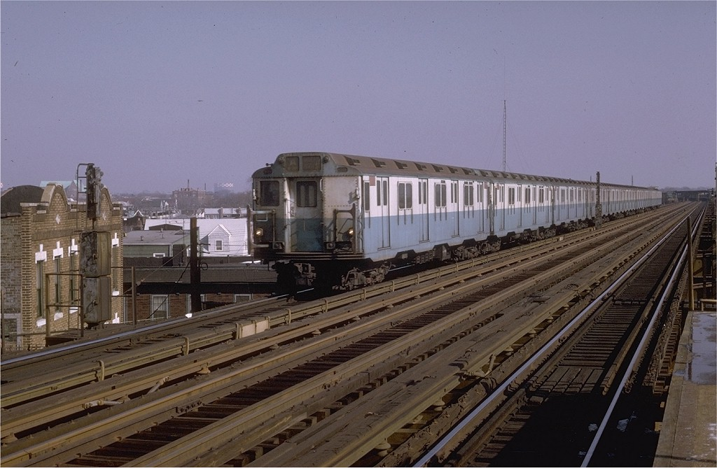 (183k, 1024x669)<br><b>Country:</b> United States<br><b>City:</b> New York<br><b>System:</b> New York City Transit<br><b>Line:</b> IND Fulton Street Line<br><b>Location:</b> 88th Street/Boyd Avenue <br><b>Route:</b> A<br><b>Car:</b> R-10 (American Car & Foundry, 1948) 3182 <br><b>Photo by:</b> Joe Testagrose<br><b>Date:</b> 2/7/1970<br><b>Viewed (this week/total):</b> 3 / 3766