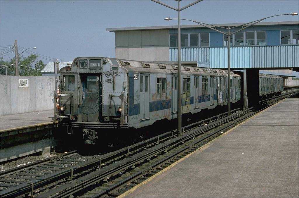 (200k, 1024x677)<br><b>Country:</b> United States<br><b>City:</b> New York<br><b>System:</b> New York City Transit<br><b>Line:</b> IND Rockaway<br><b>Location:</b> Broad Channel <br><b>Route:</b> CC<br><b>Car:</b> R-10 (American Car & Foundry, 1948) 3183 <br><b>Photo by:</b> Doug Grotjahn<br><b>Collection of:</b> Joe Testagrose<br><b>Date:</b> 6/30/1977<br><b>Viewed (this week/total):</b> 1 / 3893