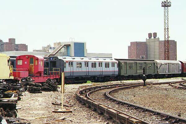 (127k, 600x400)<br><b>Country:</b> United States<br><b>City:</b> New York<br><b>System:</b> New York City Transit<br><b>Location:</b> Coney Island Yard-Museum Yard<br><b>Car:</b> R-10 (American Car & Foundry, 1948) 3184 <br><b>Photo by:</b> Sidney Keyles<br><b>Date:</b> 5/22/1999<br><b>Notes:</b> Also visible, Drill Motor #41<br><b>Viewed (this week/total):</b> 3 / 4792