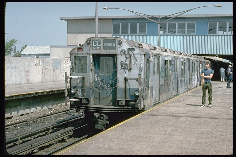 (136k, 768x512)<br><b>Country:</b> United States<br><b>City:</b> New York<br><b>System:</b> New York City Transit<br><b>Line:</b> IND Rockaway<br><b>Location:</b> Broad Channel <br><b>Route:</b> CC<br><b>Car:</b> R-10 (American Car & Foundry, 1948) 3185 <br><b>Photo by:</b> Doug Grotjahn<br><b>Collection of:</b> Joe Testagrose<br><b>Date:</b> 6/30/1977<br><b>Viewed (this week/total):</b> 3 / 4776