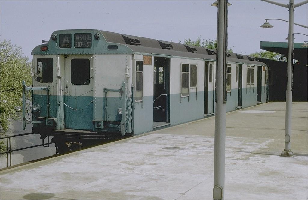 (176k, 1024x667)<br><b>Country:</b> United States<br><b>City:</b> New York<br><b>System:</b> New York City Transit<br><b>Line:</b> IND Rockaway<br><b>Location:</b> Mott Avenue/Far Rockaway <br><b>Route:</b> A<br><b>Car:</b> R-10 (American Car & Foundry, 1948) 3187 <br><b>Collection of:</b> Joe Testagrose<br><b>Date:</b> 5/15/1969<br><b>Viewed (this week/total):</b> 4 / 4011