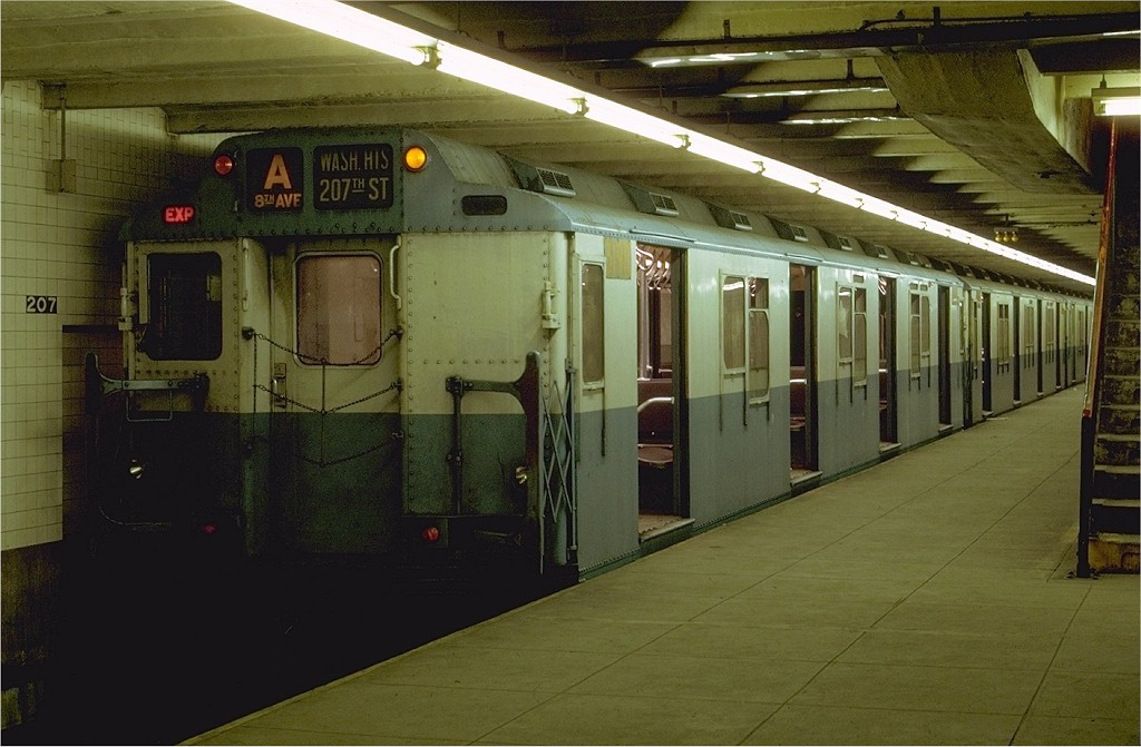 (176k, 1024x671)<br><b>Country:</b> United States<br><b>City:</b> New York<br><b>System:</b> New York City Transit<br><b>Line:</b> IND 8th Avenue Line<br><b>Location:</b> 207th Street <br><b>Route:</b> A<br><b>Car:</b> R-10 (American Car & Foundry, 1948) 3190 <br><b>Photo by:</b> Joe Testagrose<br><b>Date:</b> 10/18/1969<br><b>Viewed (this week/total):</b> 7 / 4078