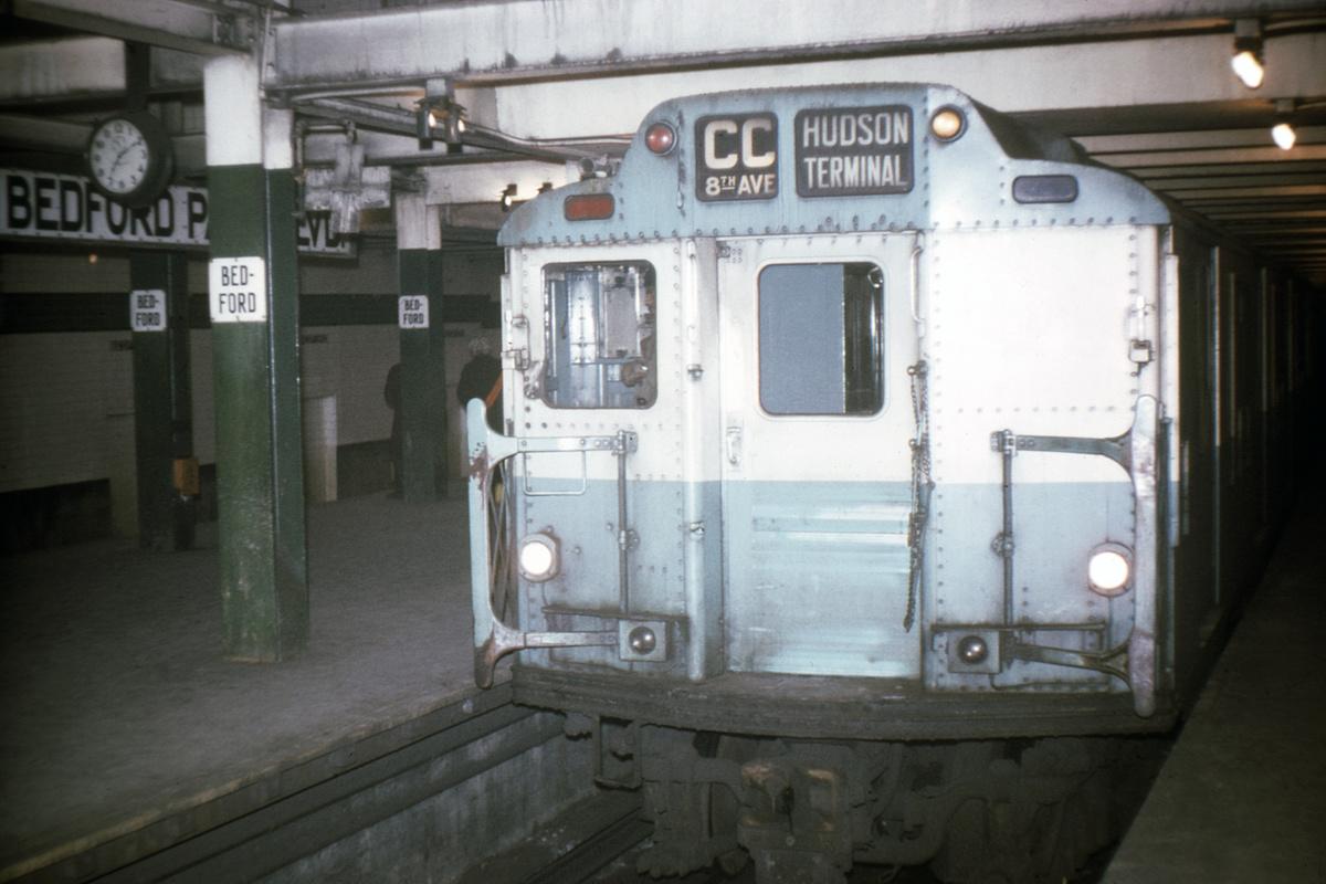 (311k, 1024x683)<br><b>Country:</b> United States<br><b>City:</b> New York<br><b>System:</b> New York City Transit<br><b>Line:</b> IND Concourse Line<br><b>Location:</b> Bedford Park Boulevard <br><b>Route:</b> CC<br><b>Car:</b> R-10 (American Car & Foundry, 1948) 3208 <br><b>Collection of:</b> David Pirmann<br><b>Date:</b> 1/22/1970<br><b>Viewed (this week/total):</b> 0 / 4723