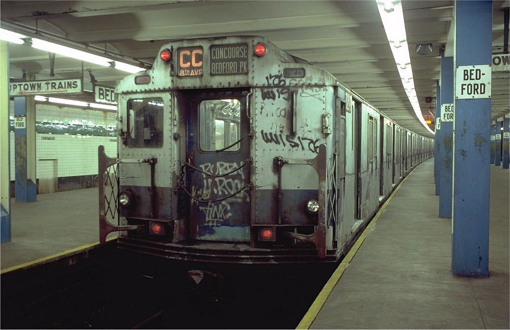 (195k, 1024x663)<br><b>Country:</b> United States<br><b>City:</b> New York<br><b>System:</b> New York City Transit<br><b>Line:</b> IND Concourse Line<br><b>Location:</b> Bedford Park Boulevard <br><b>Route:</b> CC<br><b>Car:</b> R-10 (American Car & Foundry, 1948) 3210 <br><b>Photo by:</b> Doug Grotjahn<br><b>Collection of:</b> Joe Testagrose<br><b>Date:</b> 11/4/1980<br><b>Viewed (this week/total):</b> 0 / 5384