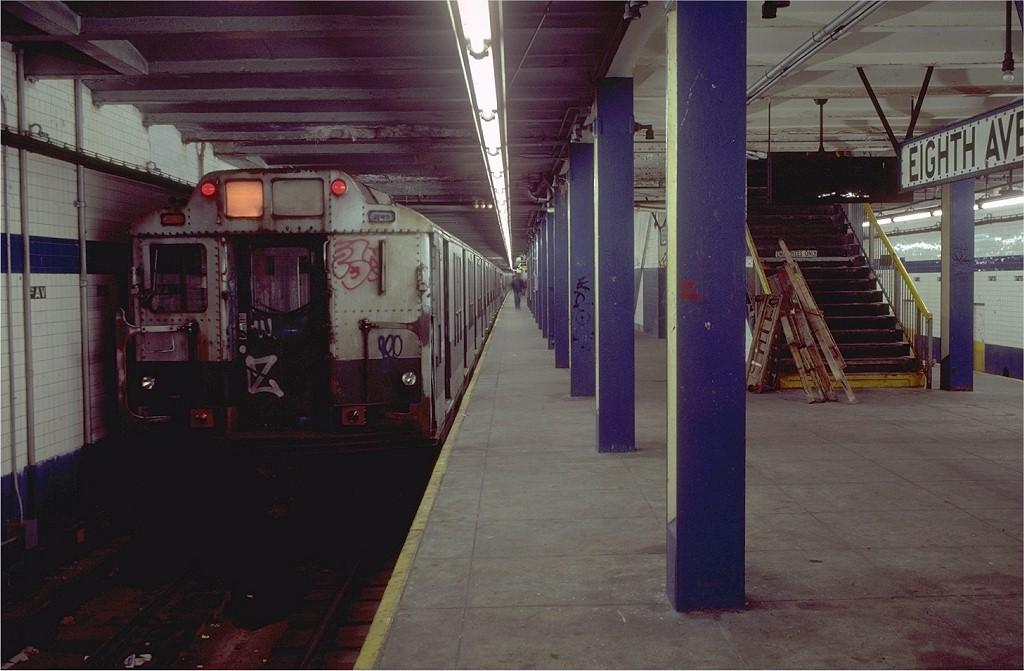 (170k, 1024x671)<br><b>Country:</b> United States<br><b>City:</b> New York<br><b>System:</b> New York City Transit<br><b>Line:</b> BMT Canarsie Line<br><b>Location:</b> 8th Avenue <br><b>Route:</b> LL<br><b>Car:</b> R-10 (American Car & Foundry, 1948) 3211 <br><b>Photo by:</b> Doug Grotjahn<br><b>Collection of:</b> Joe Testagrose<br><b>Date:</b> 11/14/1980<br><b>Viewed (this week/total):</b> 0 / 4416