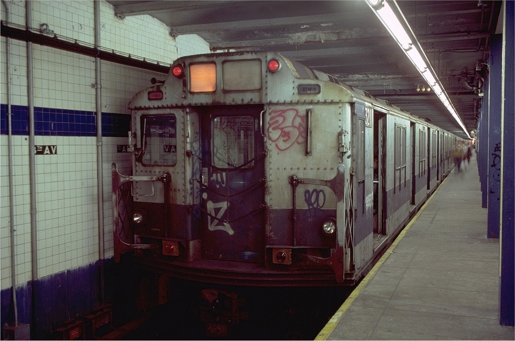 (177k, 1024x678)<br><b>Country:</b> United States<br><b>City:</b> New York<br><b>System:</b> New York City Transit<br><b>Line:</b> BMT Canarsie Line<br><b>Location:</b> 8th Avenue <br><b>Route:</b> L<br><b>Car:</b> R-10 (American Car & Foundry, 1948) 3211 <br><b>Photo by:</b> Doug Grotjahn<br><b>Collection of:</b> Joe Testagrose<br><b>Date:</b> 11/14/1980<br><b>Viewed (this week/total):</b> 4 / 5639