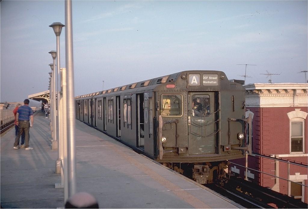 (176k, 1024x694)<br><b>Country:</b> United States<br><b>City:</b> New York<br><b>System:</b> New York City Transit<br><b>Line:</b> BMT Nassau Street/Jamaica Line<br><b>Location:</b> Crescent Street <br><b>Route:</b> Fan Trip<br><b>Car:</b> R-10 (American Car & Foundry, 1948) 3216 <br><b>Collection of:</b> Joe Testagrose<br><b>Date:</b> 10/29/1989<br><b>Viewed (this week/total):</b> 7 / 6484